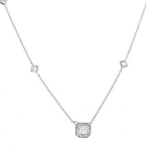 Silver Square Accented CZ Pendant Necklace Travel Jewelry