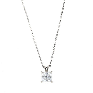 Silver Square CZ Pendant Necklace Travel Jewelry 2