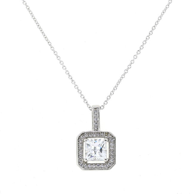Silver square cz pendant necklace travel jewelry bobby schandra silver square cz pendant necklace travel jewelry mozeypictures Image collections