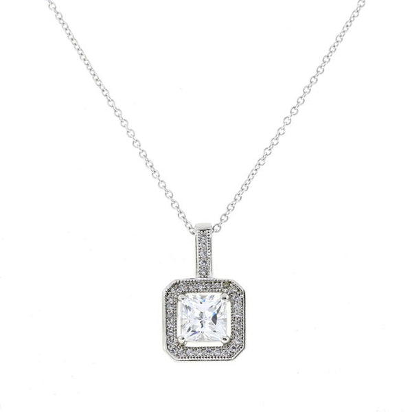 Silver Square CZ Pendant Necklace Travel Jewelry