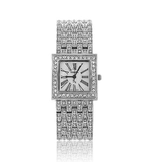 Silver Square Swarovski Crystal Pearl Face Designer Watch