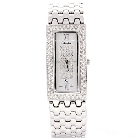 Silver Swarovski Crystal Rectagular Watch