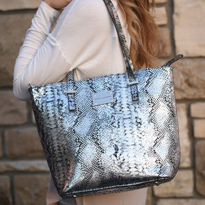 designer-silver-black-snake-leather-designer-tote-handbag
