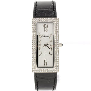 Skinny Black Leather Swarovski Crystal Watch