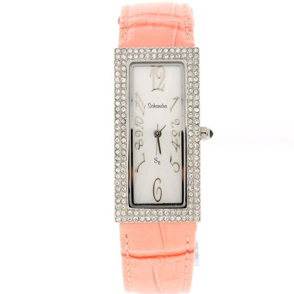 Skinny Pink Leather Band with Swarovski Crystals