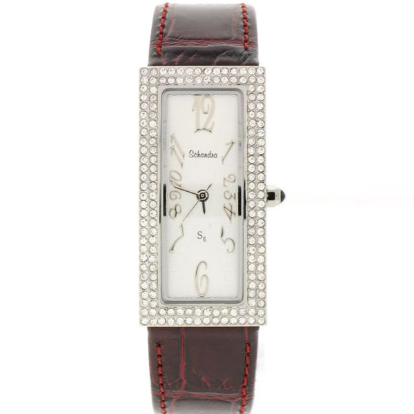 red/brown swarovski crystal rectangle watch
