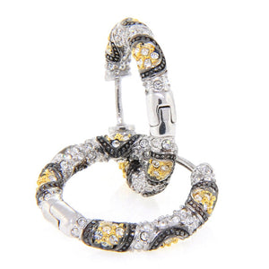 Small Animal Print Swarovski Crystal Hoop Earrings