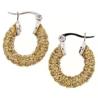 Small Gold Crystal Hoop Earrings Silver Clasp