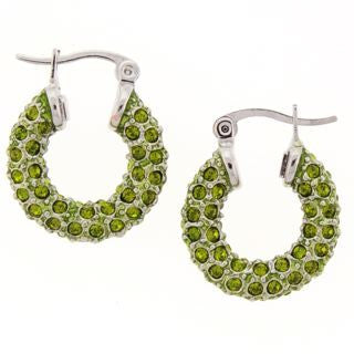 Small Green Swarovski Crystal Hoop Earrings