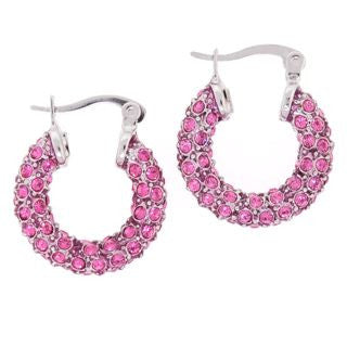 Small Pink Swarovski Crystal Hoop Earrings