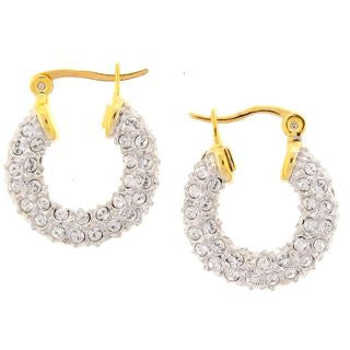 Small Silver Swarovski Crystal Earrings with Gold Clasp