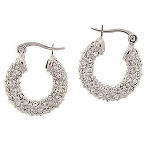 Small Silver Swarovski Hoop Earrings