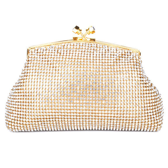 Gold Mesh Swarovski Crystal Evening Clutch