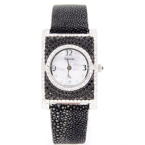 Black Rectangle Swarovski Crystal Watch