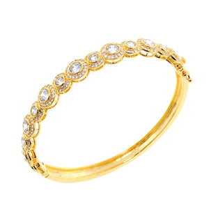 Stunning Double Set Chandi Diamond Gold CZ Crystal Bangle Bracelet by Bobby Schandra