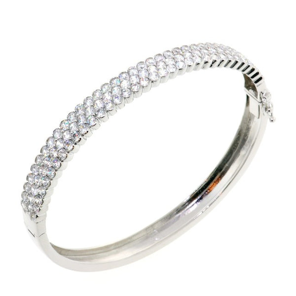 Stunning Round Cut Chandi Diamond CZ Crystal Bangle Bracelet by Bobby Schandra