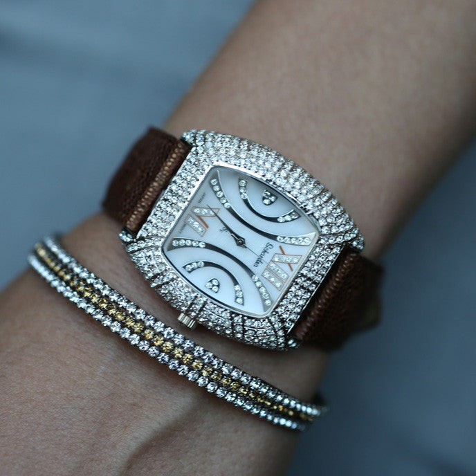 Tank Bling Watch- Swarovski Crystals Mother of Pearl Swarovski crystals