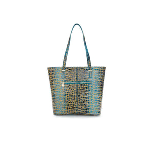 teal-blue-snake-gold-print-leather-designer-tote