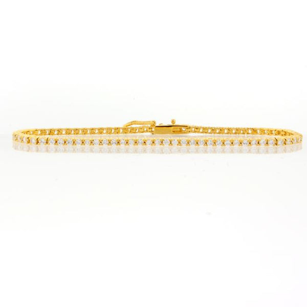 Thin Tennis Bracelet with Round CZ Chandi Diamonds by Bobby Schandra