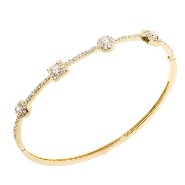 Treasure Style Chandi Diamond Gold CZ Crystal Bangle Bracelet by Bobby Schandra