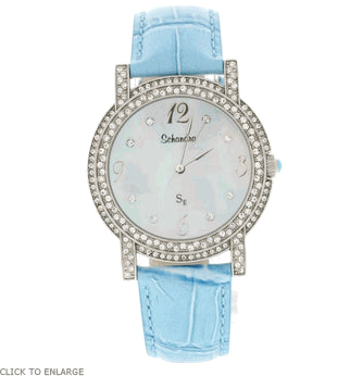 Turquoise round leather swarovski crystal watch
