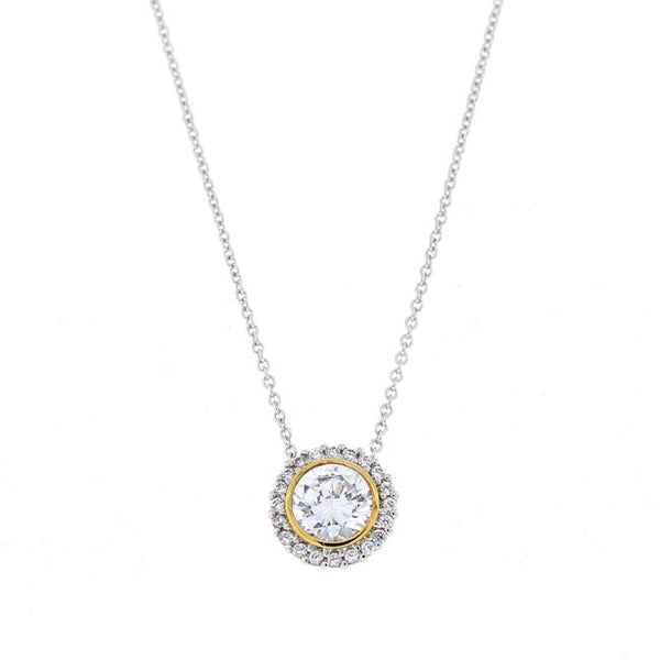 Two Tone Silver Round CZ Pendant Necklace Travel Jewelry