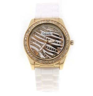White and Gold Zebra Rubber Bling Watch