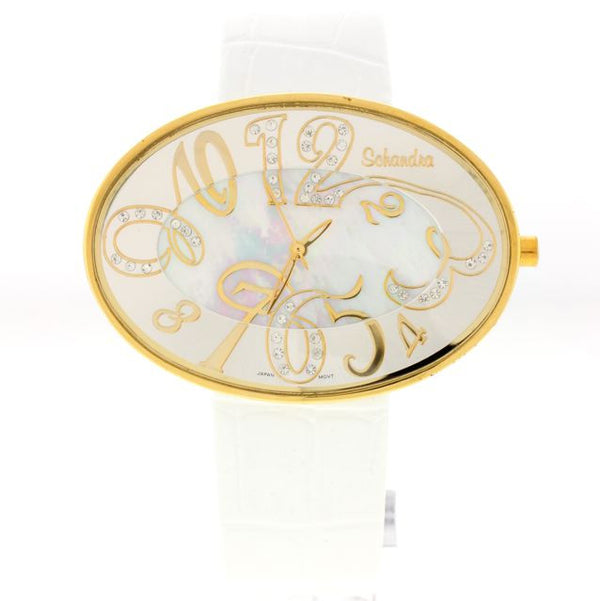 White/gold oval Leather Swarovski Crystal Watch