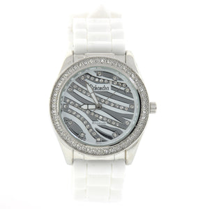 White Zebra Rubber Bling Watch