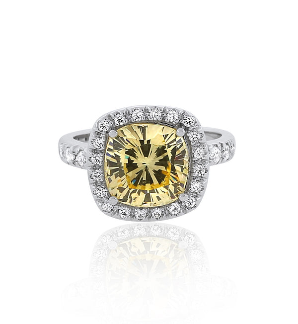 Yellow Cushion halo cz silver travel ring
