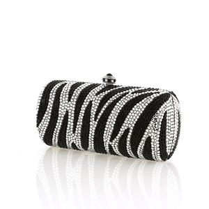 Black and White Clear Zebra Swarovski Crystal Evening Clutch Bobby Schandra
