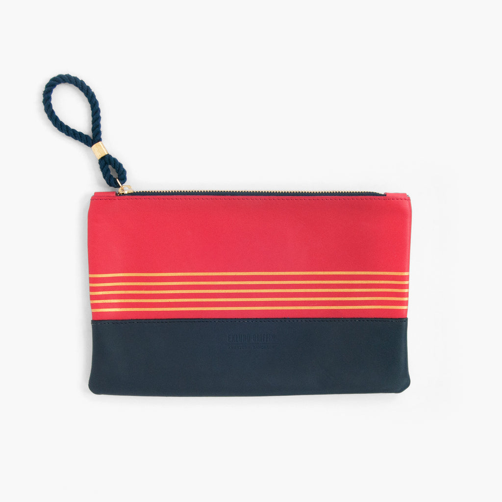 Buoy Block Clutch in Coral Red + Navy