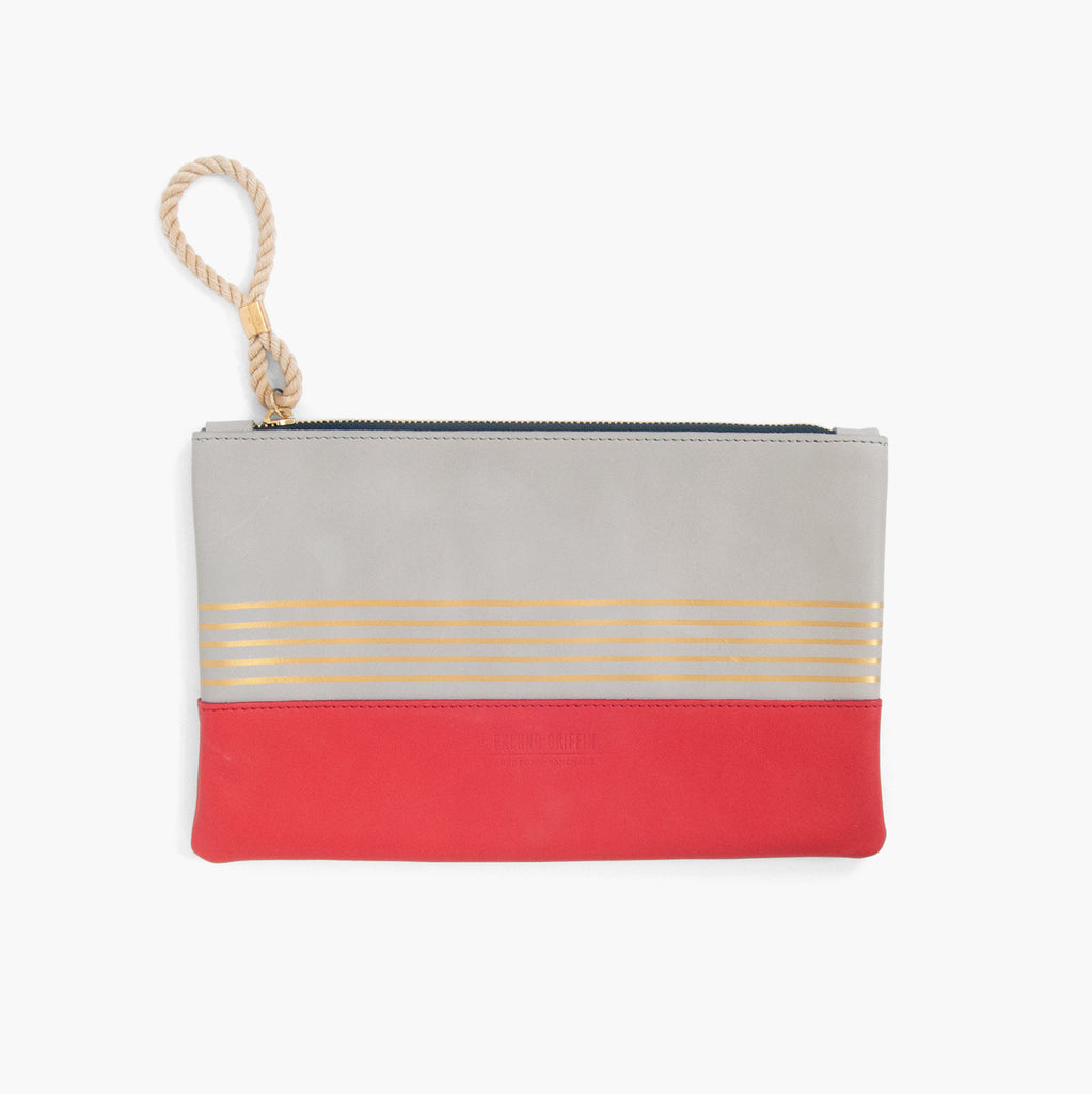 Buoy block clutch in Gull Gray + Coral Red