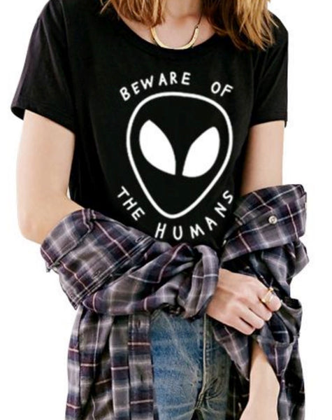"""BEWARE OF THE HUMANS"" - GRUNGE Alien Crop Top"