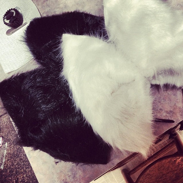 Fuzzy Black & White Fur Bows (Faux)