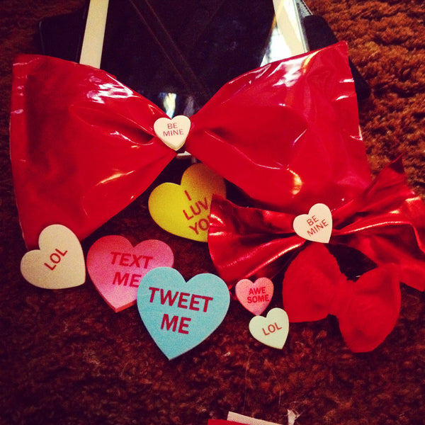 Candy Hearts Red Latex Hairbows