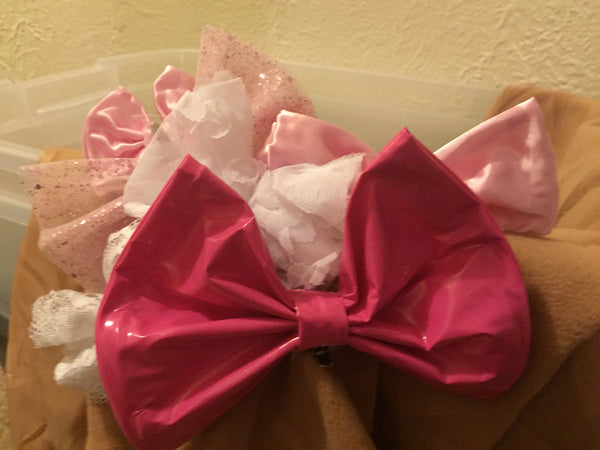 Pink LATEX Hairbow