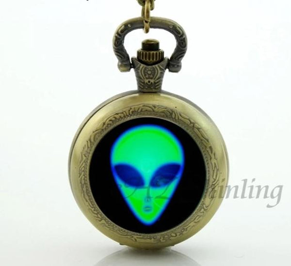UFO Alien Pocket Watch Glass Dome Necklace