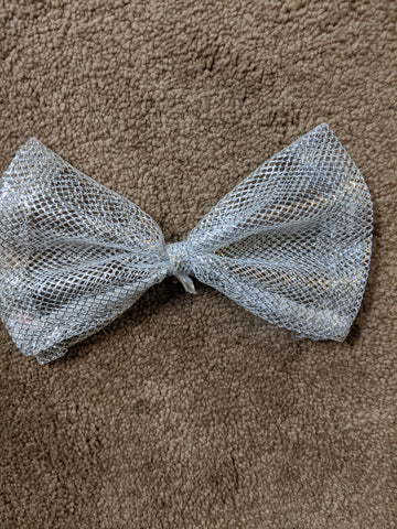 Silver Metallic MESH Bow