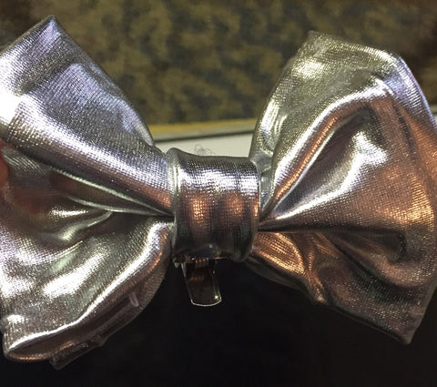 Silver Metallic hair Bow / Bow-tie