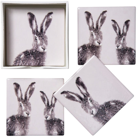 Set of 4 Ceramic Hare Coasters - 11cm