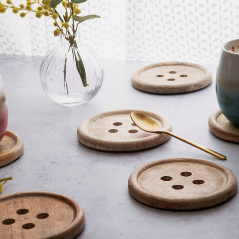 Wooden Button Coasters - Set of 6