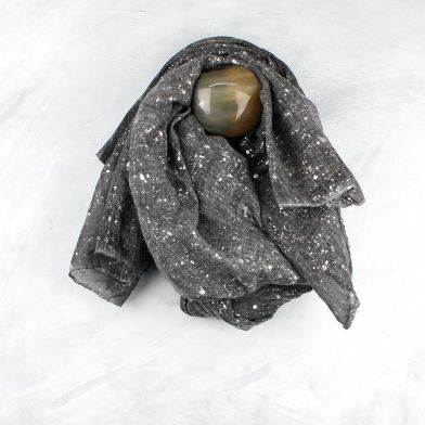 Grey Scarf with Silver Splatter Print