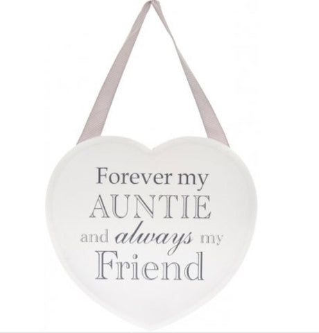Forever My Auntie White Heart Plaque