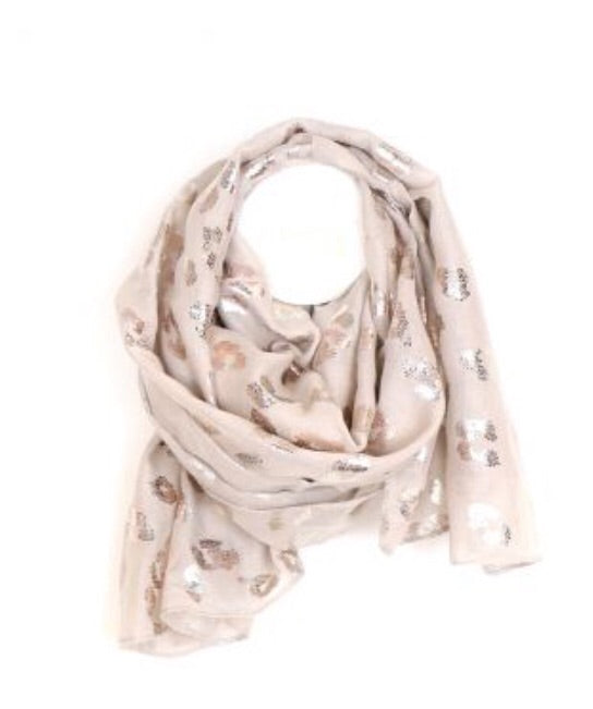 Natural Rose Gold Leopard Print Scarf