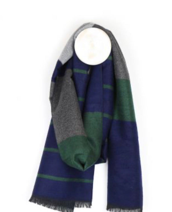 Men's grey, green and blue striped scarf