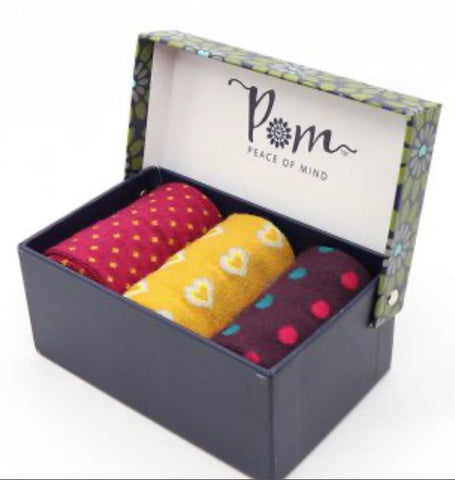 Womans bamboo sock box in magenta and mustard - 3 Pack