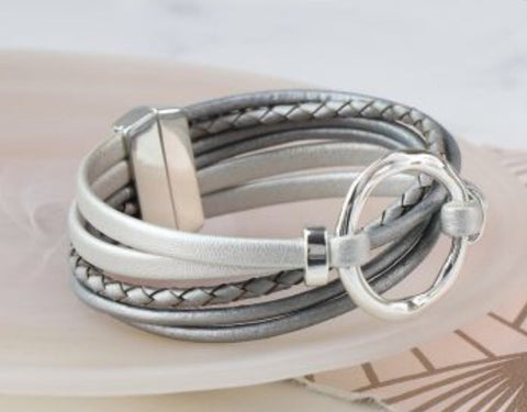 Multi Strand Grey Leather & Silver Hoop Bracelet