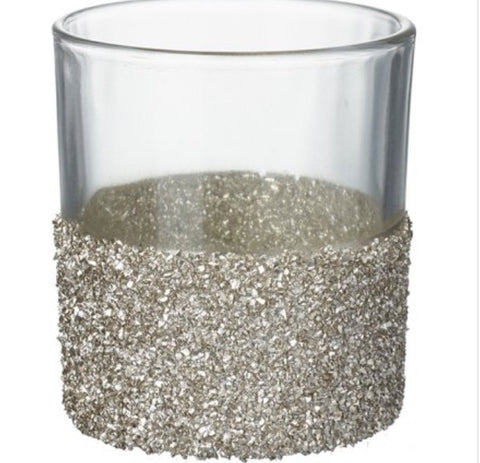 Crushed Gold Glitter Candle Holder, 8cm