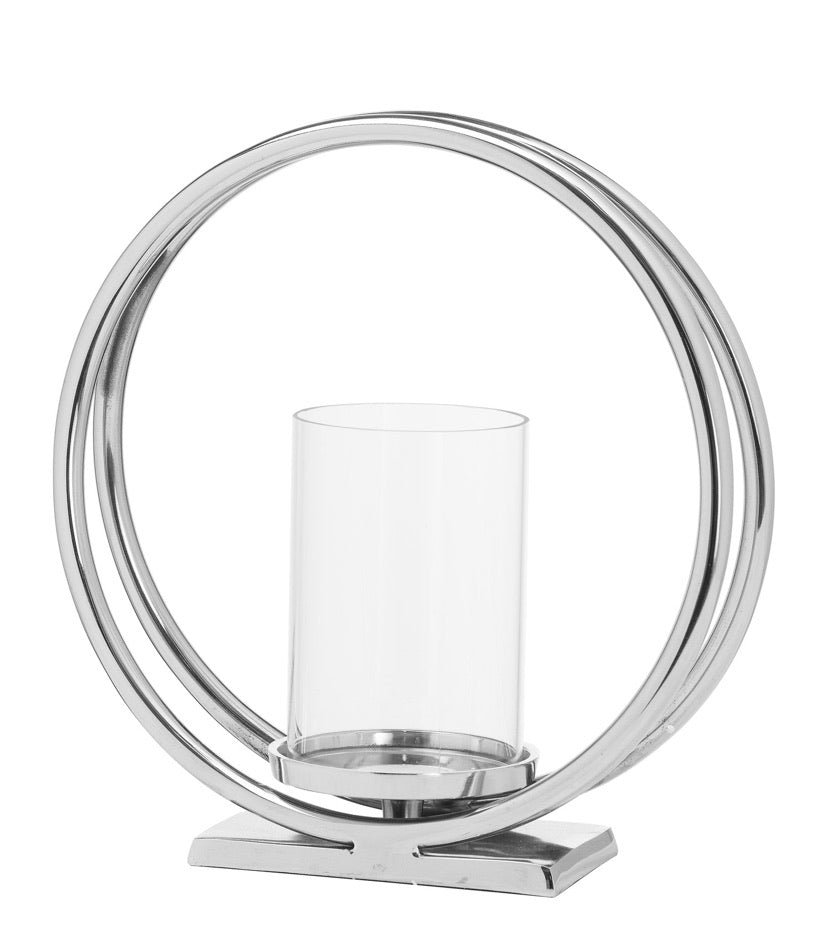 Silver Twin loop Candle Holder